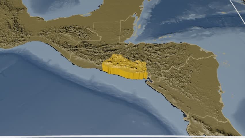 El salvador extruded on the world map with administrative borders el salvador extruded on the world map with administrative borders and graticule elevation and bathymetry gumiabroncs Gallery