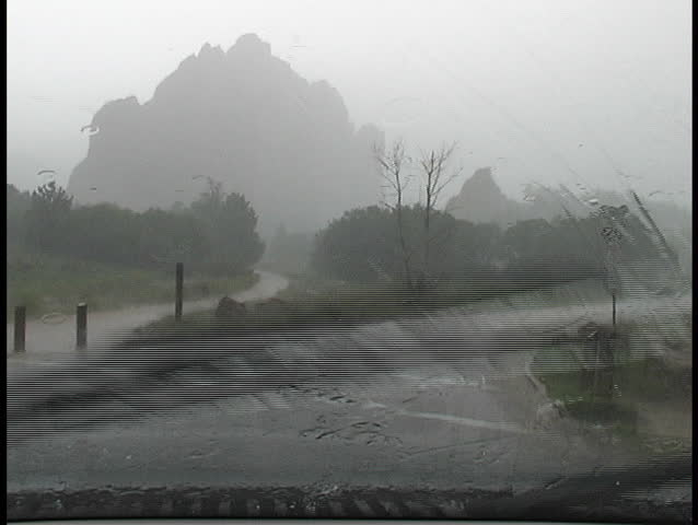 A heavy hail storm in Garden of the Gods, complete with lightning and thunder