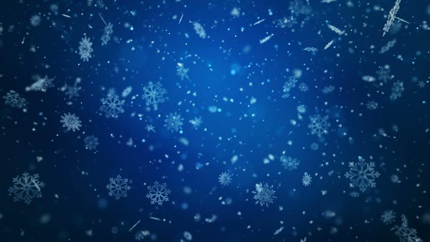 Falling snowflakes, snow background. Loop animation. 4K.