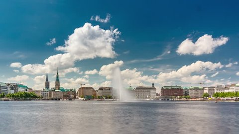 Timelapse view of the Alster lake with the famous Alster fountain in Hamburg, Germany.