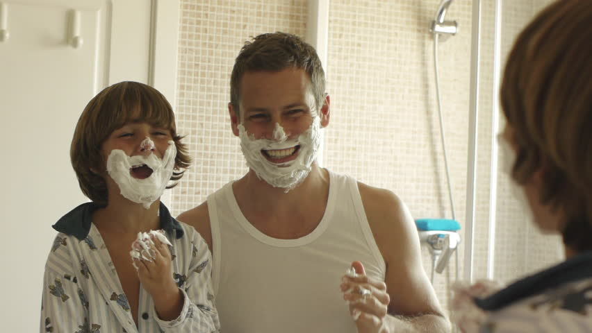Father And Son With Shaving Cream On Their Faces. | Shutterstock HD Video #8188159
