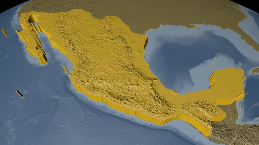Mexico extruded on the world map rivers and lakes shapes added mexico extruded on the world map with administrative borders elevation and bathymetry data on solid gumiabroncs Choice Image