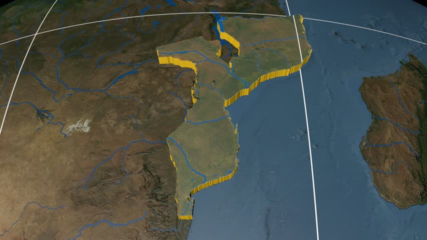 Mozambique extruded on the world map rivers and lakes shapes added mozambique extruded on the world map with graticule rivers and lakes shapes added high gumiabroncs Gallery