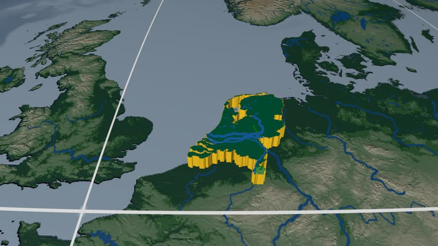 Netherlands Extruded On The World Map Rivers And Lakes Shapes - Netherlands rivers map