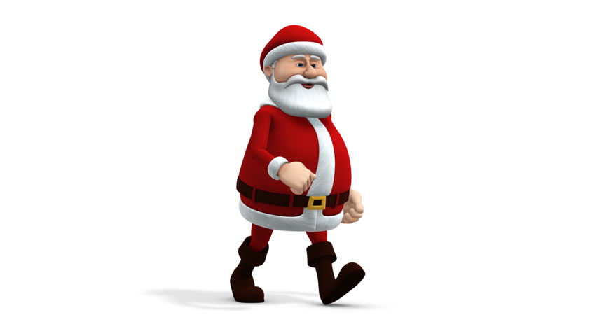 Cartoon Santa Claus Walking Stock Footage Video 100 Royalty Free