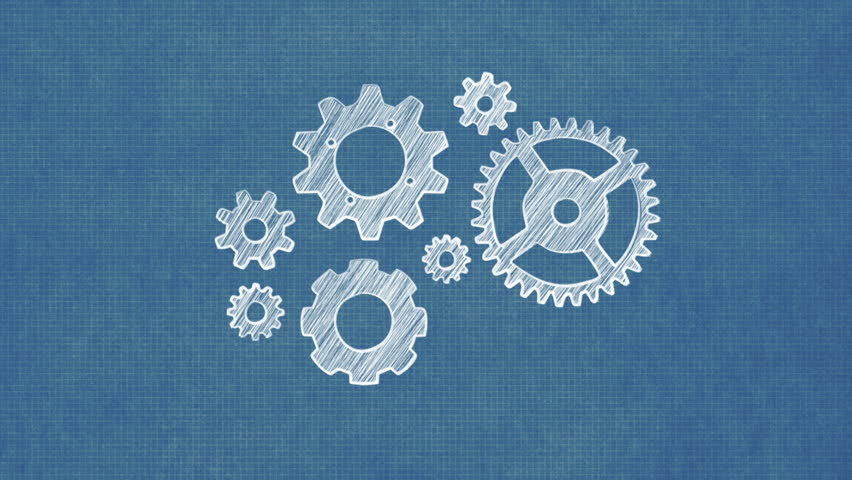 Animated mechanical motion background rotate cogwheel loppable hand drawing gears on blueprint paper hd stock footage clip malvernweather Image collections