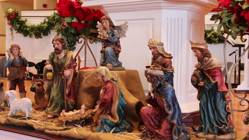 Closeup Of Nativity Scene Inside Church Decorated For
