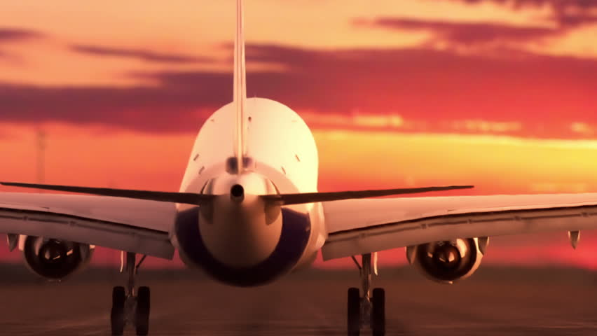 Passenger jet landing. Sunset version.   Shutterstock HD Video #8264230