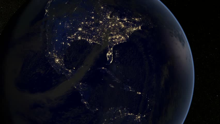 Flying to the earth at night - Florida - USA - short - Earth's city lights and International Space Station - The estimateddynamic is made on a scientific basis and was verified by astrophysicists