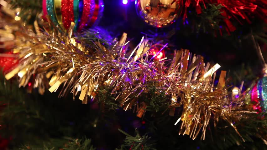 Christmas tree decorations, balls, tinsel and lights | Shutterstock HD Video #8276731