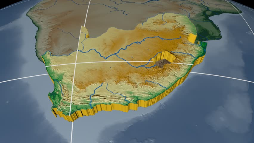 South africa extruded on the world map rivers and lakes shapes south africa extruded on the world map with graticule rivers and lakes shapes added sciox Choice Image
