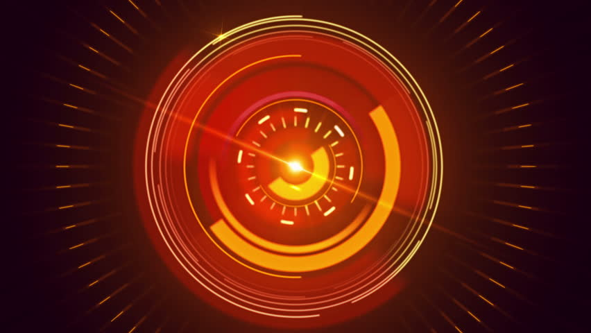 Abstract Background With Animated Shapes And Circles HUD Infographic Orange Color 4K