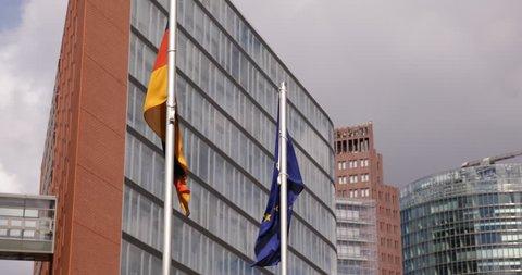 Potsdamer Platz German European Flags Office Building Apartments Complex Germany ( Ultra High Definition, UltraHD, Ultra HD, UHD, 4K, 2160P, 4096x2160 )