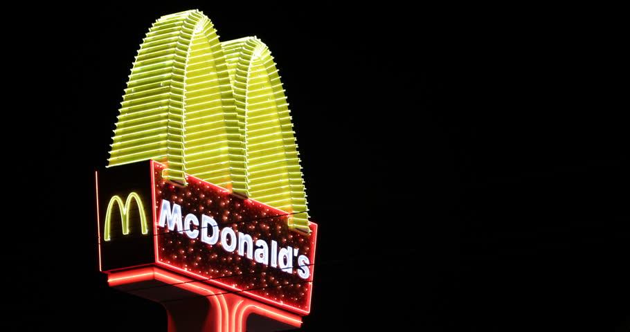 LAS VEGAS, USA - APRIL 28, 2013 McDonald's Restaurant Neon Electronic Sign Fast Food Chain Logo Night Light Icon ( Ultra High Definition, UltraHD, Ultra HD, UHD, 4K, 2160P, 4096x2160 )