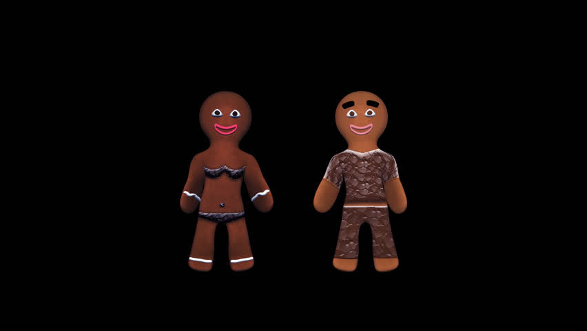 Gingerbread Dancers - Hip-Hop Pair - I - Alpha - 3D animation of funny, hot and sweet cookie boy and girl dancing for holiday and kid event, show, VJ, party, music, website, banner, dvd, screensaver.