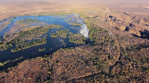 aerial view of victoria falls one of the most famous waterfall in the world  a world heritage