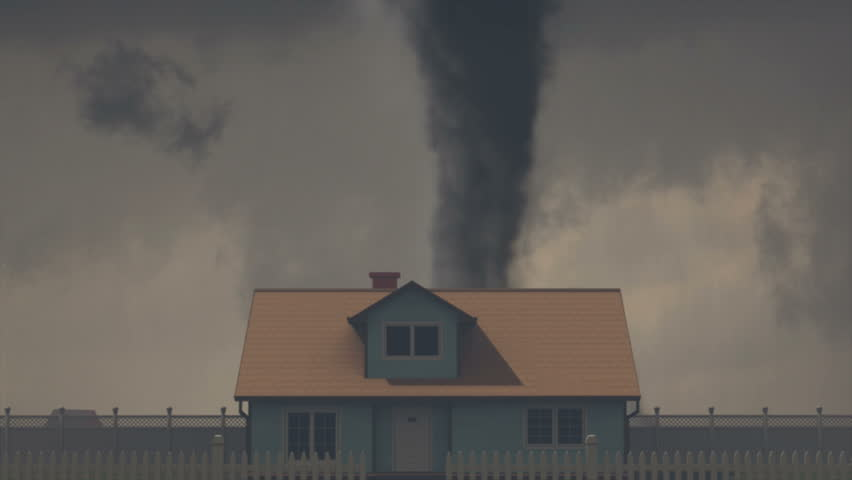 Tornado Destroys House:  Detailed, high-quality CGI depicting a violent tornado destroying a house, shot hand-held to enhance realism and viewer experience.