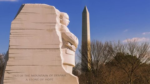 Time lapse of the Martin Luther King, Jr. Memorial with the Washington Monument in the background