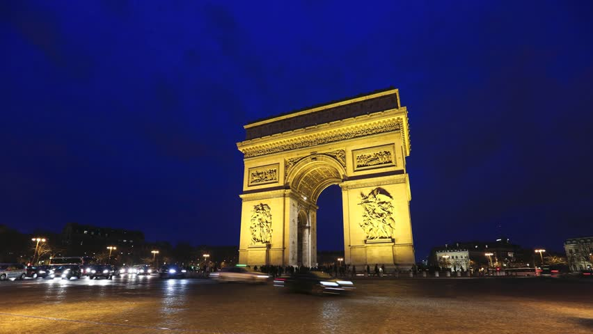 Triumph Arch, Paris. Time lapse video in Paris Charles De Gaulle square. Night multiexposure video, fast traffic lights of cars in blurred motion. | Shutterstock HD Video #8410876