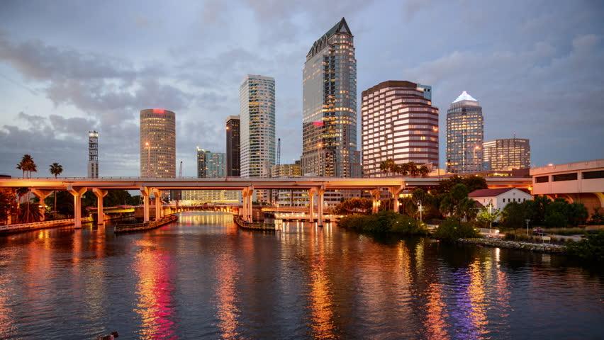 Tampa, Florida, USA city skyline on the Hillsborough River.