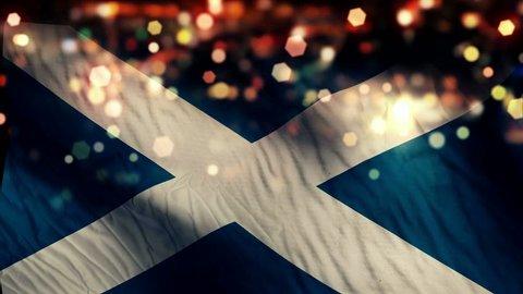Scotland Flag Light Night Bokeh Abstract Loop Animation 4K Resolution UHD Ultra HD