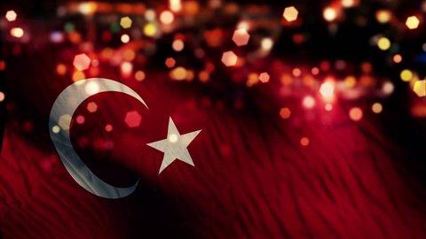 Turkey Flag Light Night Bokeh Abstract Loop Animation 4K Resolution UHD Ultra HD