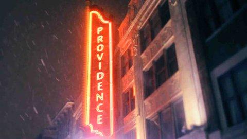 Providence, Rhode Island downtown city street sign on snowy night