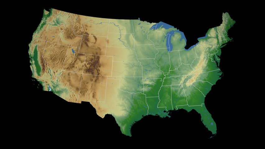 USA Colorado State Denver Extruded On The Elevation Map Of The - Colorado on the us map