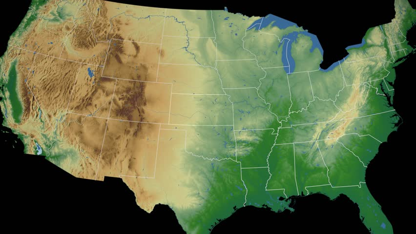 State Of Kansas Map Reveals From The USA Map Silhouette Animation - 4k us map