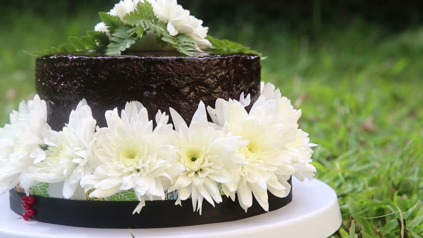 Chocolate Cake Decorated With White Stock Footage Video 100