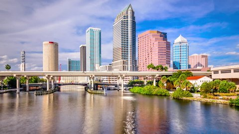 Tampa, Florida, USA downtown city skyline time lapse.