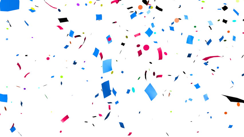 Multi-colored confetti falling, holiday abstract background