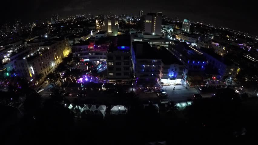 4K: Aerial drone video of Miami Beach at night | Shutterstock HD Video #8590360