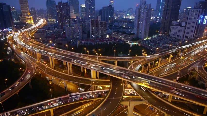 Aerial View freeway busy city rush hour heavy traffic jam highway,shanghai Yan'an East Road Overpass interchange,Timelapse of driving & cars racing by with streaking lights trail at night. gh2_07400 | Shutterstock HD Video #8598250