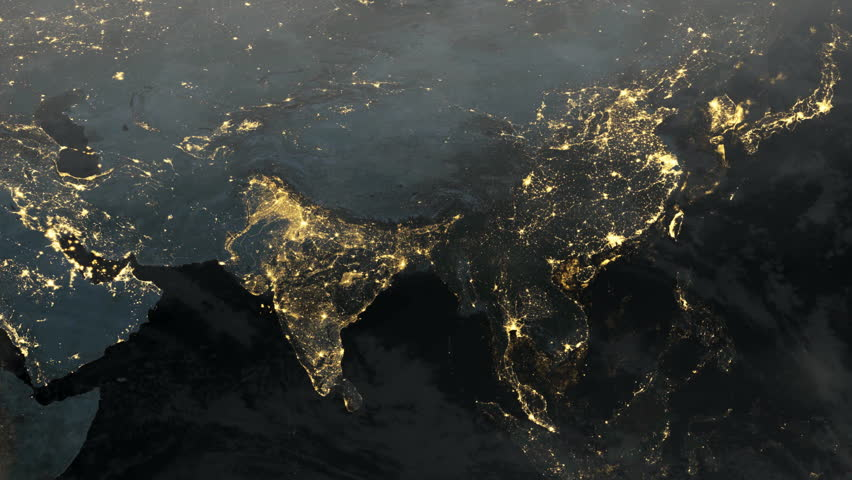 Asia and India At Night Illuminated. Time-lapse of Planet Earth with Clouds (1080p HD)