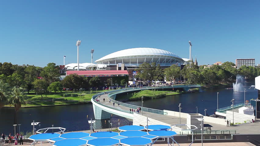 Adelaide, Australia - January 15, 2015: View of River Torrens and Adelaide Oval in Adelaide, Australia. These are the landmarks in the riverbank area of Adelaide and are popular tourist attractions.