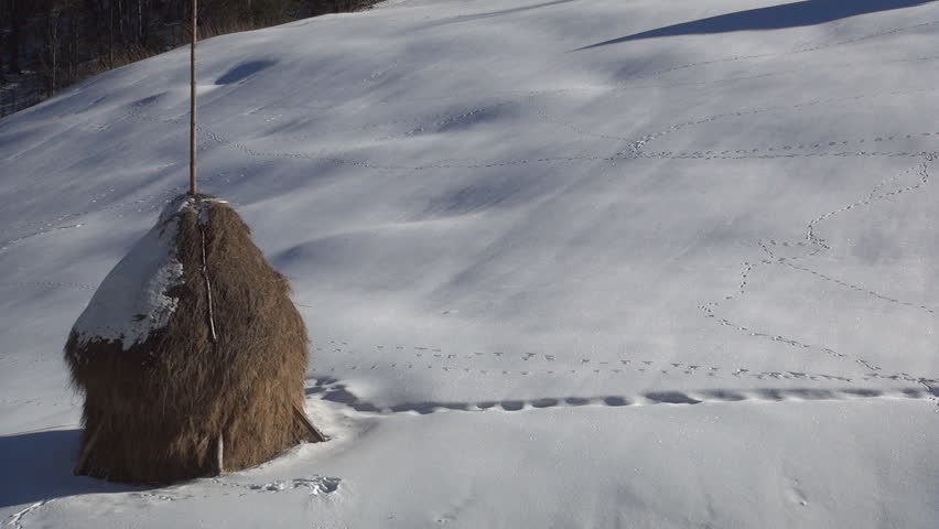 Hd0030Haystack In A Beautiful Snow Cover Landscape Mountain Household Winter Sunshine Day