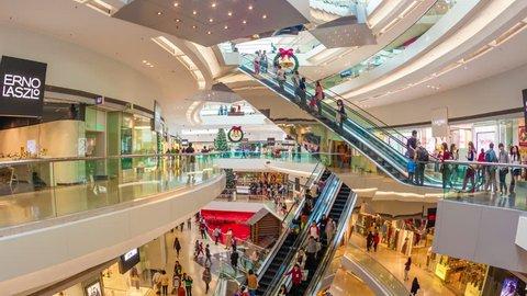 Hong Kong, China - November 15, 2013: 4k hyperlapse video of people shopping in the Festival Walk shopping mall in Hong Kong. Festival Walk is one of the biggest shopping mall in Hong Kong.