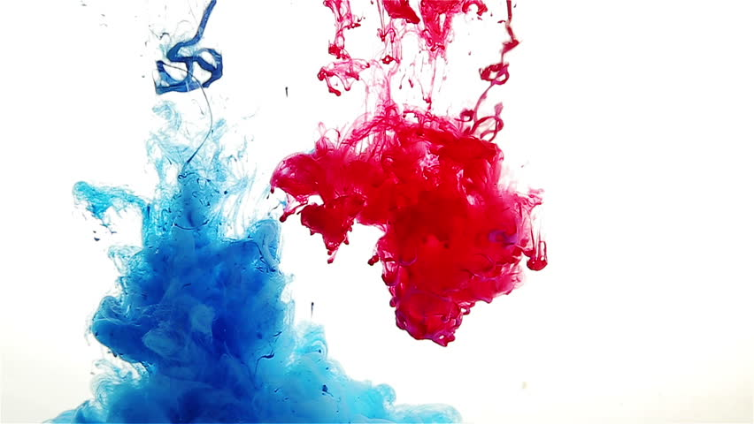 Color drop in water, recorded in motion. Ink swirling in water. Cloud of silky ink in water isolated on white background. Colorful ink in water, ink drop. Movement of paint in water. Blue. Video clip.