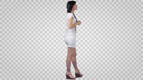 Brunette Girl in white shirt and short skirt. Side view 2. Footage with alpha channel. File format - mov. Codeck - PNG+Alpha Use these footage to combine with other people footage to make crowd effect