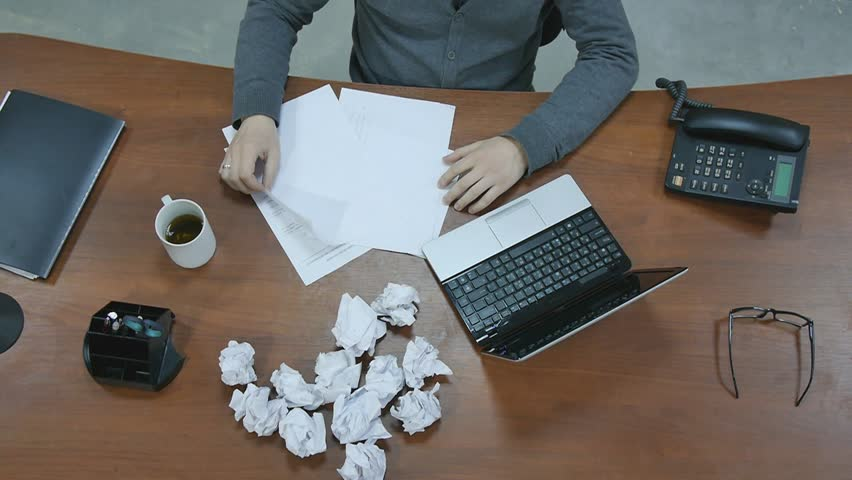 Hands of office workers, directors are crumple forms and documents. paper. | Shutterstock HD Video #8708173