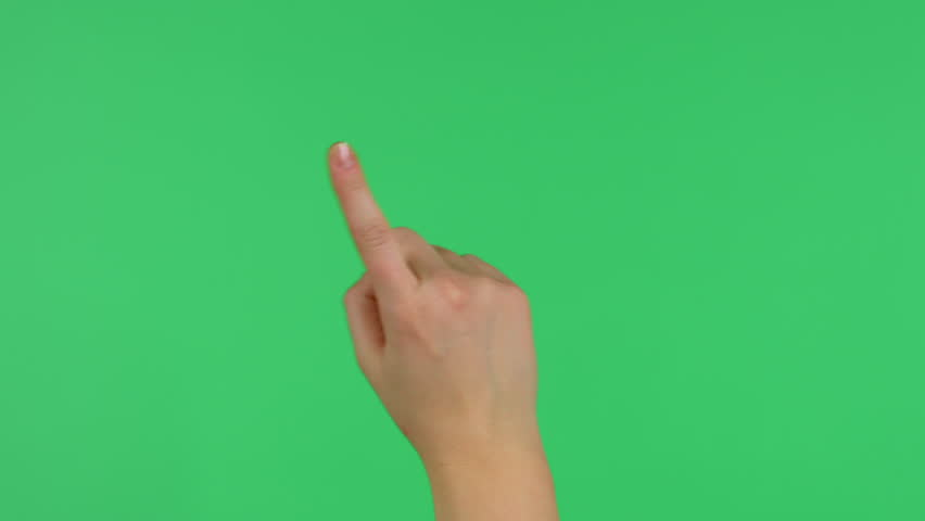 Touchscreen tap and swipe hand gestures on green screen #8709610