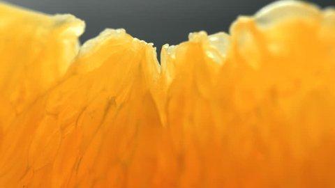 tasty orange pig, orange cantle, orange lith pulp rotating closeup, beautiful soft focus macro shot  (HD, high definition 1080p, loop, seamless loop)