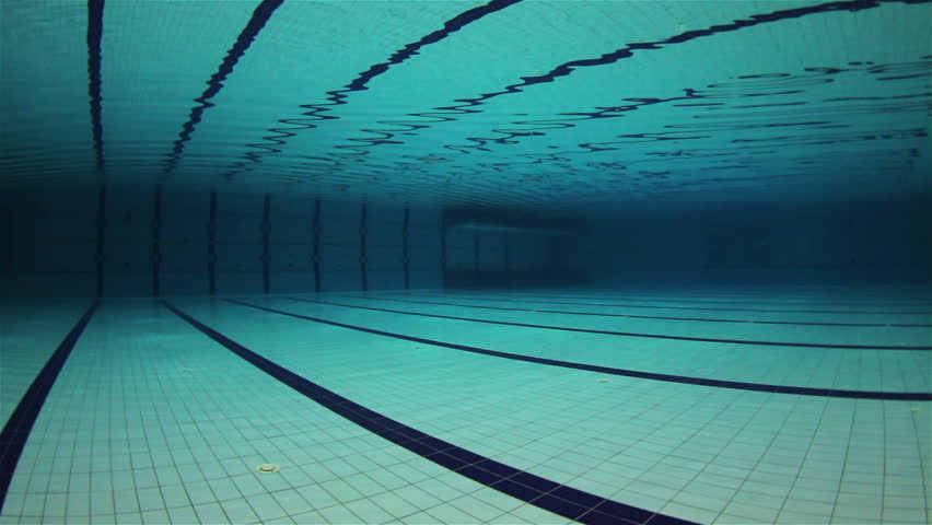 empty olympic swimming pool underwater wide angle hd stock footage clip