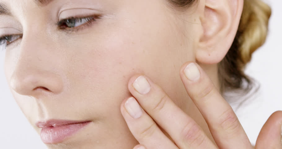 Closeup Beauty portrait of woman hand touching neck skincare concept - Red Epic Dragon