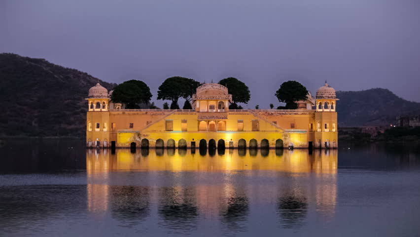 Rajasthan Landmark Jal Mahal Water Palace On Man Sagar