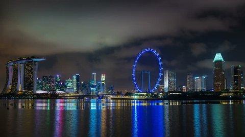 singapore night light skyline 4k time lapse