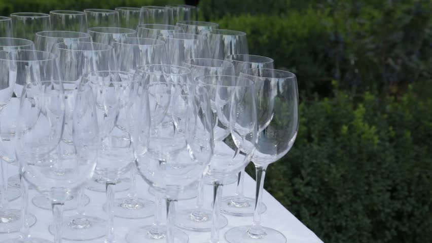 A lot of empty glasses on the table | Shutterstock HD Video #8800960