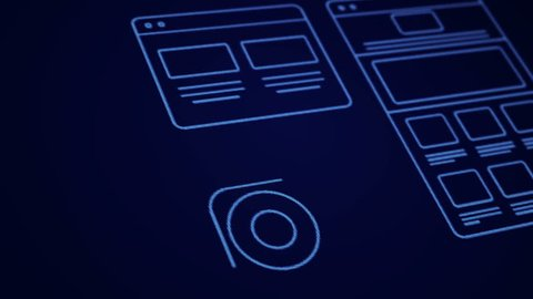 Stylized Interface design process blue neon animation concept. Technology drawing animation. Different colors in my profile.