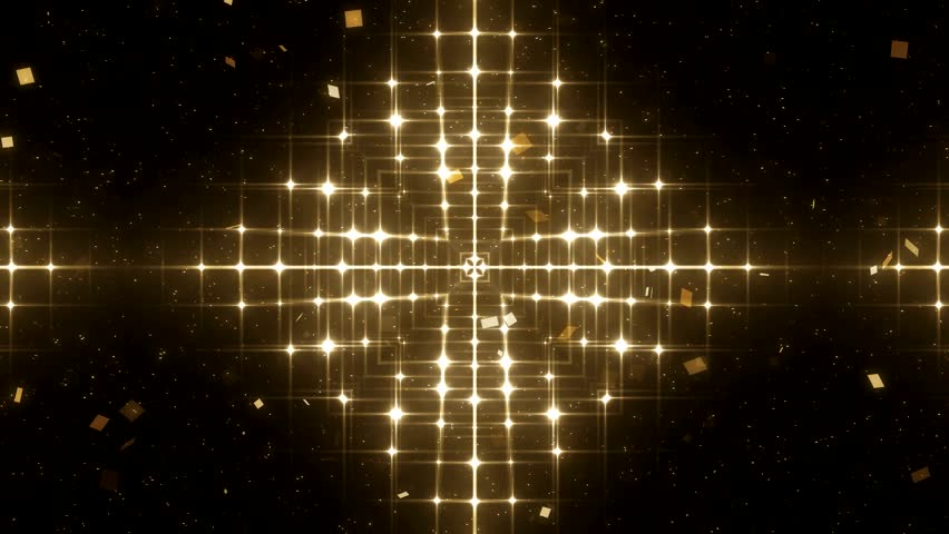 Fractal gold kaleidoscopic background. Background motion with fractal design. Disco spectrum lights concert spot bulb. More sets footage  in my portfolio.